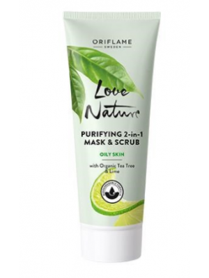 ORIFLAME LOVE NATURE Purifying 2-in-1 Mask & Scrub with Organic Tea Tree & Lime 75 ML