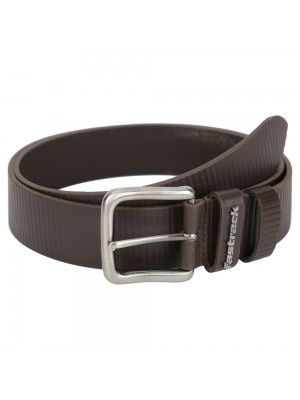 Fastrack Black Single-Sided Leather Belt with Antique Nickel Tongue Buckle-B0392LBR01X