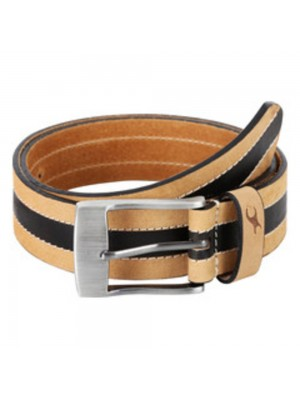 Fastrack Beige Single-Sided Leather Belt with Matt Black Finish Pin Buckle for
