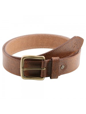 FASTRACK  TAN LEATHER BELT Single-Sided Leather Belt with Antique Brass Finish Buckle-B0399LTN01L
