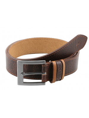 Fastrack Brown Single-Sided Leather Belt with Antique Brass Finish Buckle -B0405LBR01X