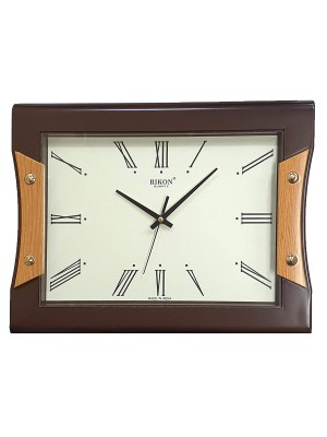 Rikon Quartz Silver Foiling Plastic Round Shape Silent Movement Exclusive Wall Clock (Size:34 cm x 27 cm, Color:Brown and Ivory)