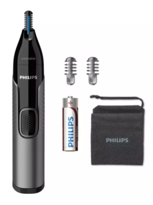 PHILIPS Series 3000 Battery-Operated Nose, Ear and Eyebrow Trimmer - Showerproof, No Pulling Guaranteed, 100 Percent Comfort, Protective Guard System - NT3650/16