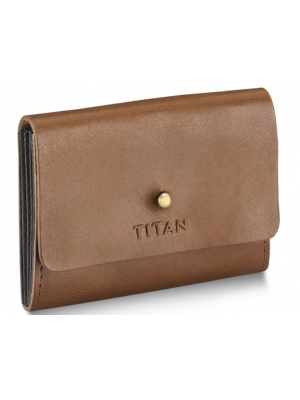 TITAN Tan Leather Multipocketed Card Case for Men with Mushroom Hook For Men-TW225LM1TN