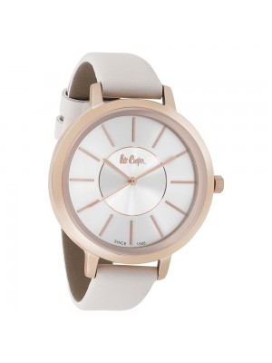 Lee Cooper Silver Dial Analog Watch & White Leather Strap for Women-LC06812437