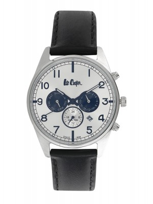 Lee Cooper Silver Dial Chronograph Watch & Black Leather Strap for Men-LC06314331