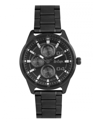 Lee Cooper Black Dial Multifunction Watch & Black Stainless Steel Strap for Men-LC06593650