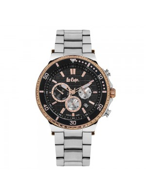 Lee Cooper Black Dial Multifunction Watch & Stainless Steel Strap for Men-LC06640550