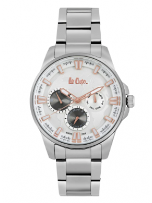 Lee Cooper Silver Dial Multifunction Watch & Stainless Steel Strap for Men-LC06671530