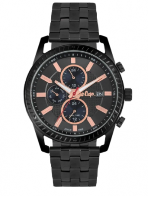 Lee Cooper Black Dial Multifunction Black Stainless Steel Srtap Watch For Men-LC06722060