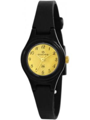 Maxima Analog Champagne Dial Fiber Strap Women's Watch - 01619PPLW