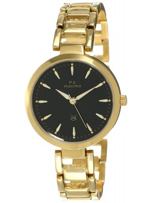 Maxima Analog Black Dial  Watch & Golden Stainless Steel Strap for Women-55855BMLY