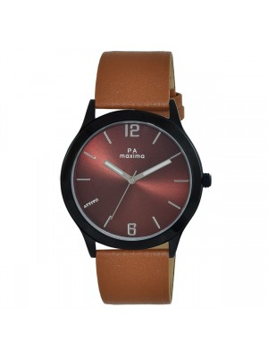 MAXIMA Analog Brown Dial ATTIVO Watch & Brown Leather Strap For Men-57923LMGB