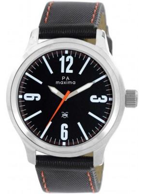 Maxima Analog Black Dial Watch & Black Leather Strap For Men-24062LMGI
