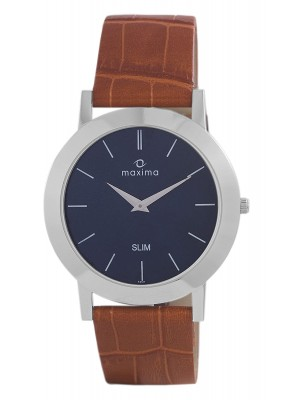 Maxima Analog Blue Dial Watch & Brown Leather Strap For Men-42121LMGI
