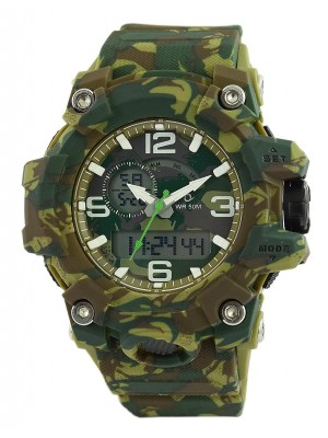 Maxima Analog Digital Camaflouge Dial Watch & Multi-Colour Silicone Strap For Men-43960PPAN