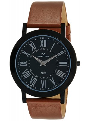 Maxima Analog Black Dial Watch & Brown Leather Strap For Men-47710LMGB
