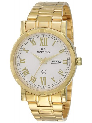 Maxima Analog White Dial Men's Watch-49725CMGY