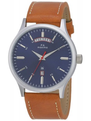 Maxima Analog Blue Dial Watch with Day & Date Function & Brown Leather Strap for Men-54115LMGI