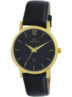 MAXIMA Analog Black Dial Watch & Black Leather Strap For Men-56023LMGY