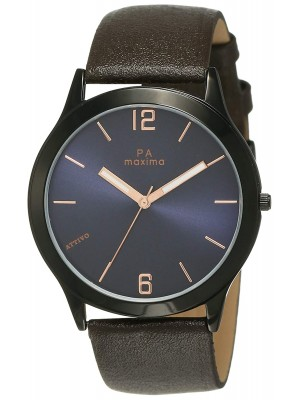 Maxima Analog Black Dial Watch & Brown Leather Sttrap For Men-57922LMGB