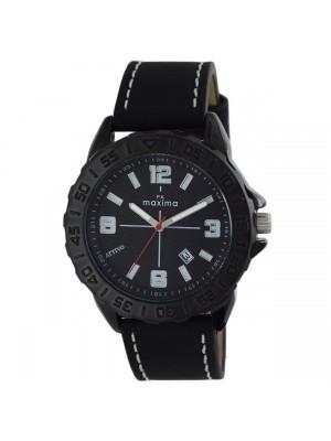 MAXIMA Analog BLACK Dial ATTIVO Watch & Black Leather Strap for Men-60315LMGB