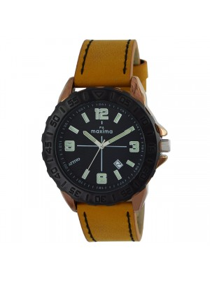 MAXIMA Analog BLACK Dial ATTIVO Watch Date Function & Brown Leather Strap for Men-60320LMGE