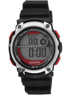 Sonata Digital Black Dial Men's Watch -NH77005PP03