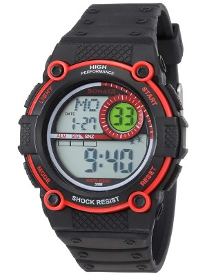 Sonata Digital Black Dial Men's Watch -NL77004PP02