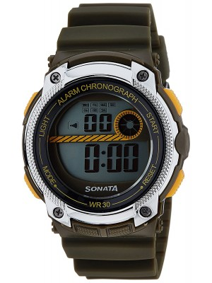 Sonata Digital Grey Dial Men's Watch -NL77005PP02