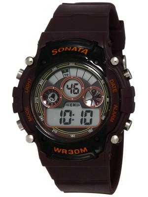 Sonata Digital Brown Dial Men's Watch