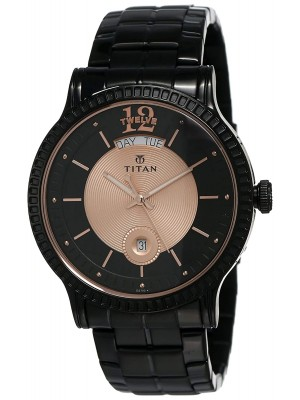 Titan Analog Multicoloured Dial with Day & Date Function & Black Stainless Steel Strap for Men-1751NM01
