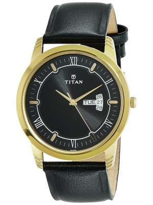 Titan Analog Watch  with Day & Date Function & Black Leather Strap for Men-1774YL01