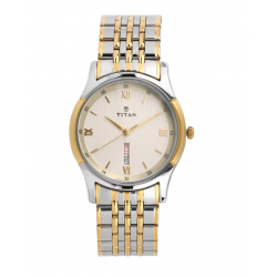 TITAN Off White Dial Two Toned Stainless Steel Strap Watch For Men-NM1636BM01