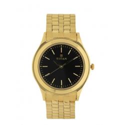 TITAN Black Dial Yellow Stainless Steel Strap Watch For Men-NN1648YM03