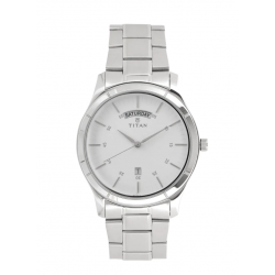 TITAN Workwear Watch with White Dial & Stainless Steel Strap For Men-NN1639SM02