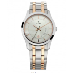 TITAN Silver Dial with Date Function Stainless Steel Strap Gents Watch