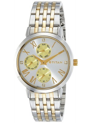 Titan Analog Watch with Day & Date Function & Stainless Steel Strap for Women-2569BM02