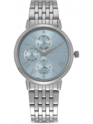 Titan Blue Dial Multifunction Watch & Stainless Steel Strap for Women-2569SM02