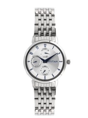 Titan White Dial Multifunction Watch & Silver Stainless Steel Strap for Women-2569SM03