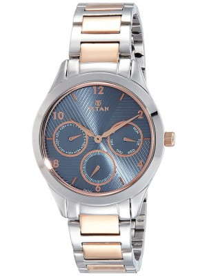 Titan Blue Dial Multifunction Watch & Two Toned Stainless Steel Strap  for Women-2570KM02