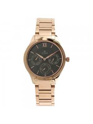 Titan Anthracite Dial Multifunction Watch & Rose Gold Stainless Steel Strap for Women-2570WM01