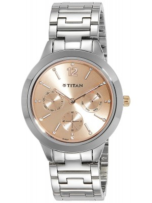 Titan Rose Gold Dial Multifunction Watch & Stainless Steel Strap for Women-2588KM03