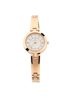 Titan Silver Dial Analog Watch & Rose Gold Metal Strap for Women-2598WM01