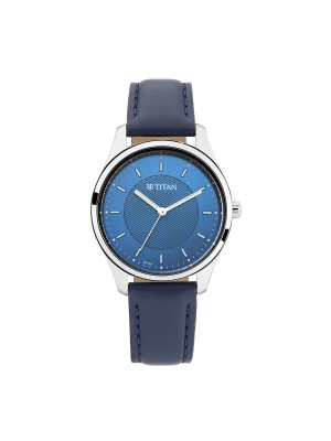 Titan Blue Dial Analog functionality & Blue Leather Strap for Women-2639SL02