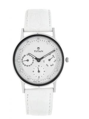 Titan Silver Dial Multifunction Watch & White Leather Strap for Women-NJ2557SL01
