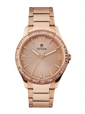 Titan Rose Gold Dial Analog Watch & Rose Gold Stainless Steel Strap  for Women-NJ9955WM01C