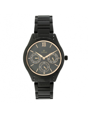Titan Analog Watch Black Dial with Day & Date Function & Black Stainless Steel Strap for Women -NL2570NM01