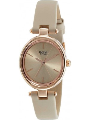 TITAN Raga Viva Rose Gold Dial Analog Watch & Beige Leather Strap for Women-NL2579WL01