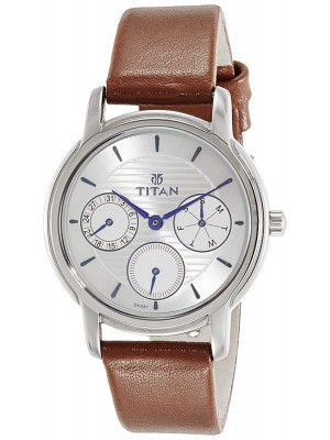 Titan White Dial Multifunction Watch & Brown Leather Strap  for Women-NL2595SL01